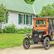 Old Model T Ford In Front Of House Poster