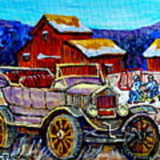 Old Model T Car Red Barns Canadian Winter Landscapes Outdoor Hockey Rink Paintings Carole Spandau Poster