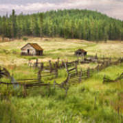 Old Montana Homestead Poster by Sharon Foster