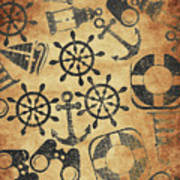 Old Nautical Parchment Poster