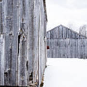 Old New England Barns Winter Poster