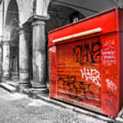Old Newsstand Closed In Bologna Canvas - Technique Of Selective Color -  Black And White Only Red Poster