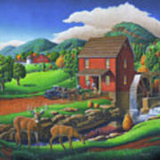 Old Red Appalachian Grist Mill Rural Landscape - Square Format  Poster