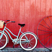 Old Red Barn And Bicycle Poster
