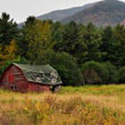 Old Red Barn In The Adirondacks Poster by Nancy De Flon