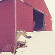 Old Red Barn In Winter Poster