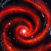 Old Red Spiral Galaxy Poster