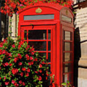 Old Red Telephone Box Or Booth Surrounded By Red Flowers In Toro Poster