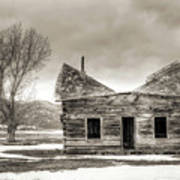 Old Rustic Log Cabin In The Snow Poster by Dustin K Ryan