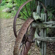 Old Rusty Wagon Wheels Poster