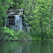 Old Shed On The Lake Poster by Marjorie Imbeau