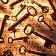 Old Skeleton Keys On Sheet Music Poster by Garry Gay