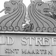 Old Street Sint Maarten In Sepia Poster