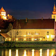 Old Town Of Ptuj Evening Riverfront View Poster