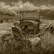 Old Truck Abandoned In The Grass In Sepia Tone Poster