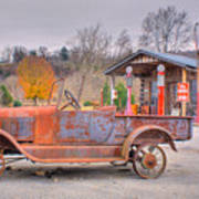 Old Truck And Gas Filling Station Poster