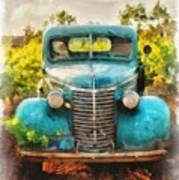 Old Truck At The Winery Poster