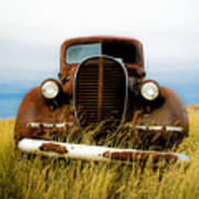 Old Truck In Field Poster