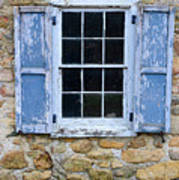 Old Village Window With Blue Shutters Poster