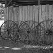 Old Wagon Wheels Black And White Poster