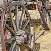 Old Wagon Wheels From Montana Poster