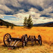Old Wagons In Meadow Poster