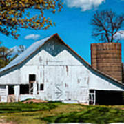 Old White Barn With Treed Silo Poster