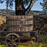 Old Wine Barrel And Wagon - Napa Valley Poster