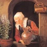 Old Woman Watering Flowers 1665 Poster