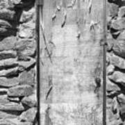 Old Wood Door  And Stone - Vertical Bw Poster