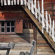 Old Wooden Cabin Log Detail Poster