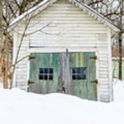 Old Wooden Garage In The Snow Woodstock Vermont Poster