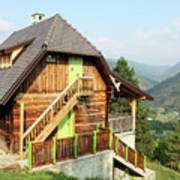 Old Wooden House On Mountain Landscape Poster