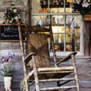 Old Wooden Rocking Chair On A Wooden Porch Poster by Jeremy Woodhouse