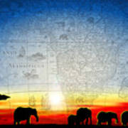 Old World Africa Cool Sunset Poster