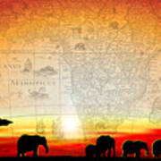 Old World Africa Warm Sunset Poster