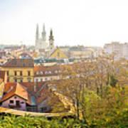 Old Zagreb Panorama In Morning Fog Poster