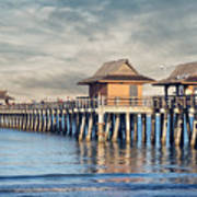 On A Cloudy Day At Naples Pier Poster