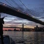 On Duty By Brooklyn Bridge New York Poster