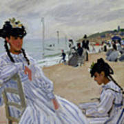 On The Beach At Trouville Poster