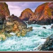 On The Coast Of Cornwall L B With Decorative Ornate Printed Frame. Poster