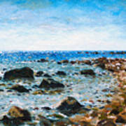On The Rocks At Montauk Poster