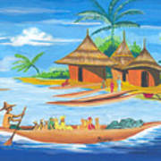 On The Shores Of Lake Kivu In Congo Poster