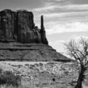 One Mitten Of Monument Valley Arizona - Black And White Poster