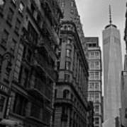 One World Trade Center New York Ny From Nassau Street Black And White Poster