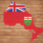 Ontario Rustic Map On Wood Poster