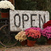 Open Sign With Flowers Fine Art Photo Poster
