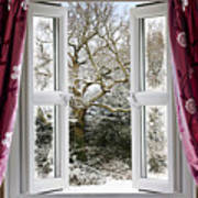 Open Window With Winter Scene Poster