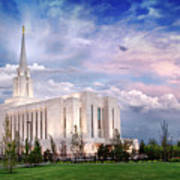Oquirrh Mt Temple Poster by La Rae  Roberts