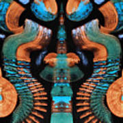 Orange And Blue Abstract 1 Poster